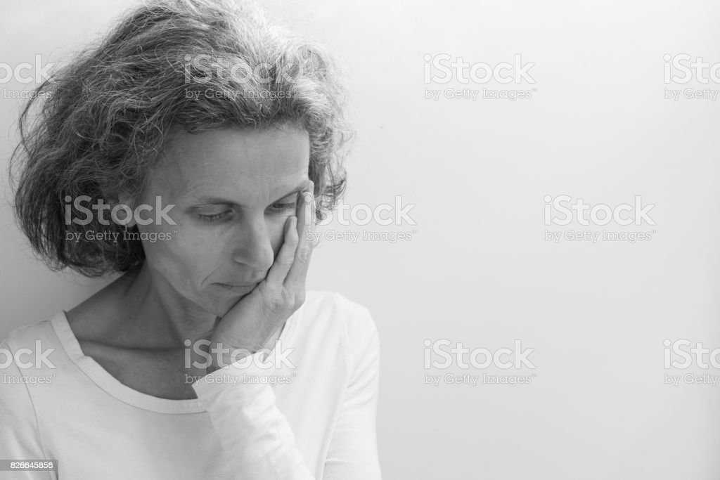 Middle aged woman (black and white) stock photo