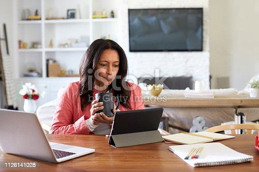 istock Middle aged woman sitting at a table reading using a tablet computer, holding a cup, front view 1126141028