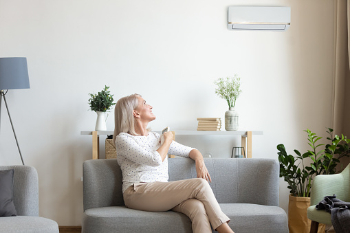 istock Middle aged woman switching on air conditioner in living room 1188934085