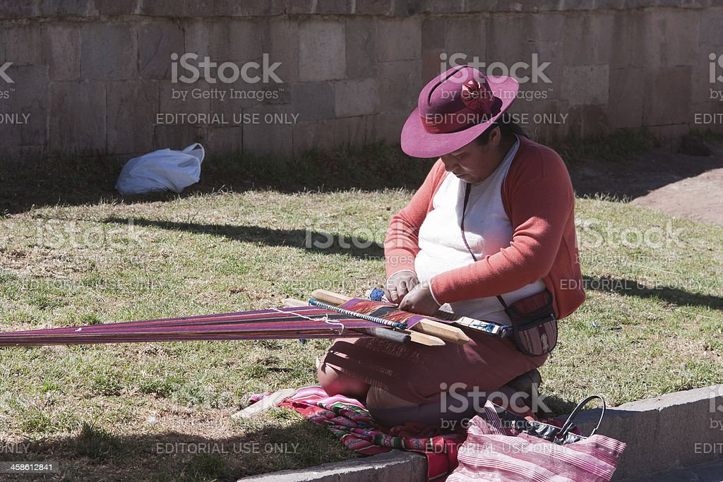 Middle Aged woman Weaving stock photo