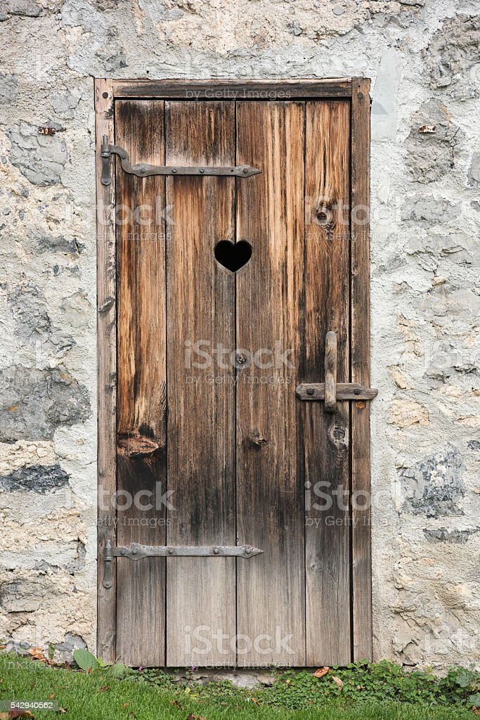 Middle Ages Wooden Door, Outhouse stock photo