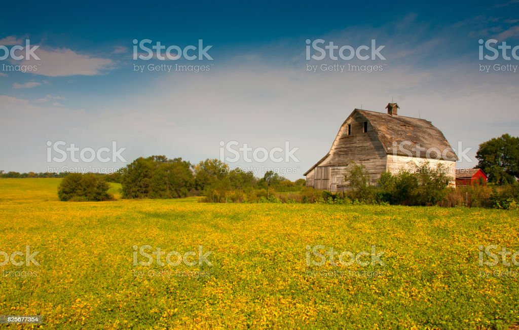 Middle America Countryside Landscape with Barn - Omaha, Nebraska stock photo