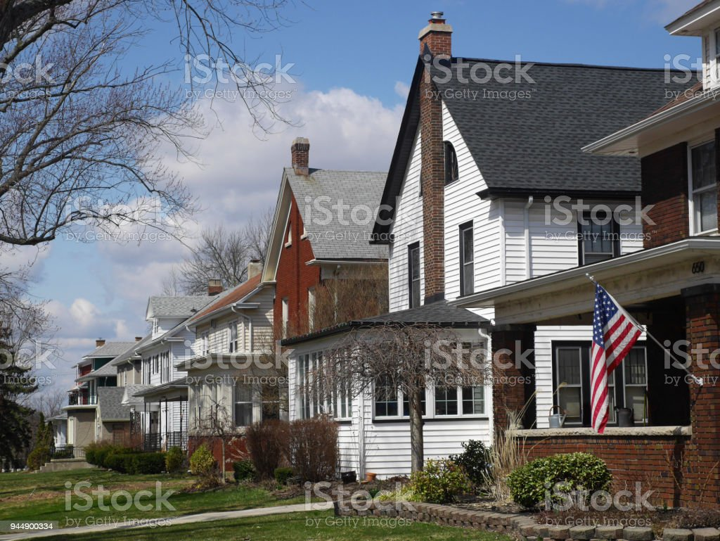 middle class houses on American suburban street stock photo