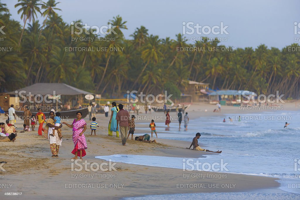 Middle Class Indian Tourists Goa Beaches Crowded stock photo