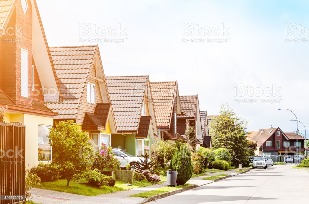 Middle class neighborhood stock photo