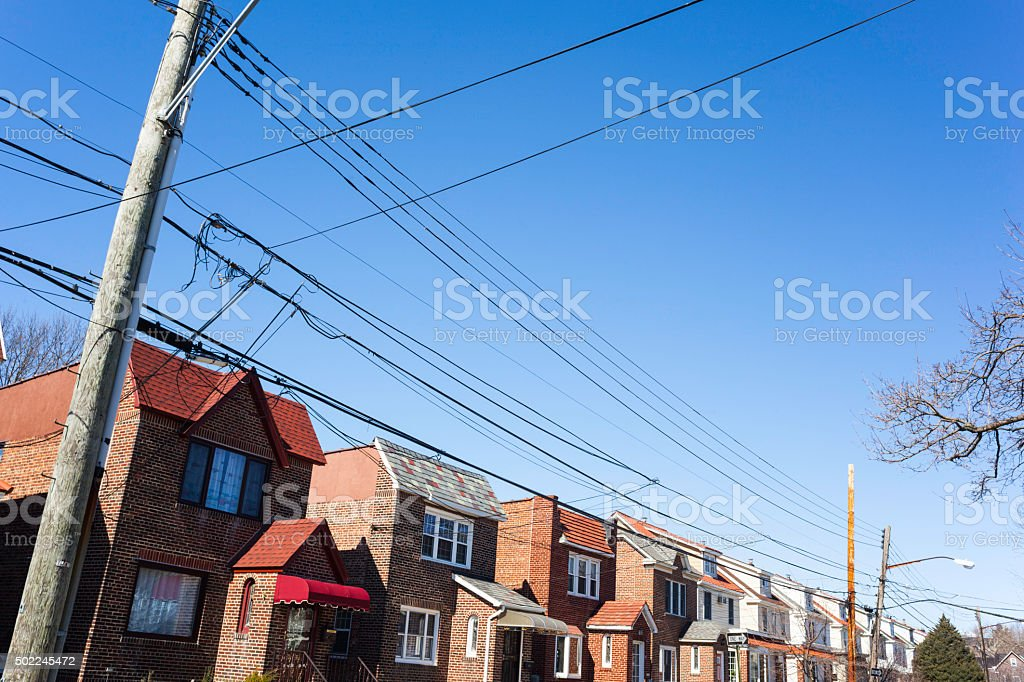 Middle class one and two family homes. stock photo