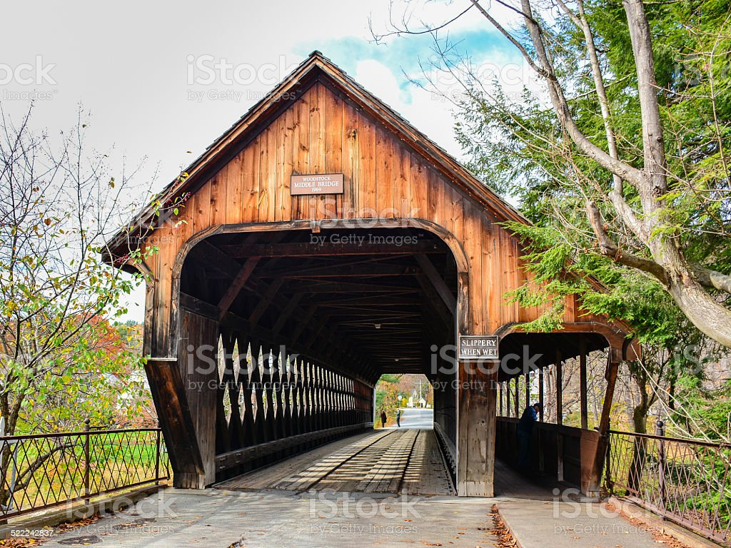 Middle Covered Bridge - Woodstock, Vermont stock photo