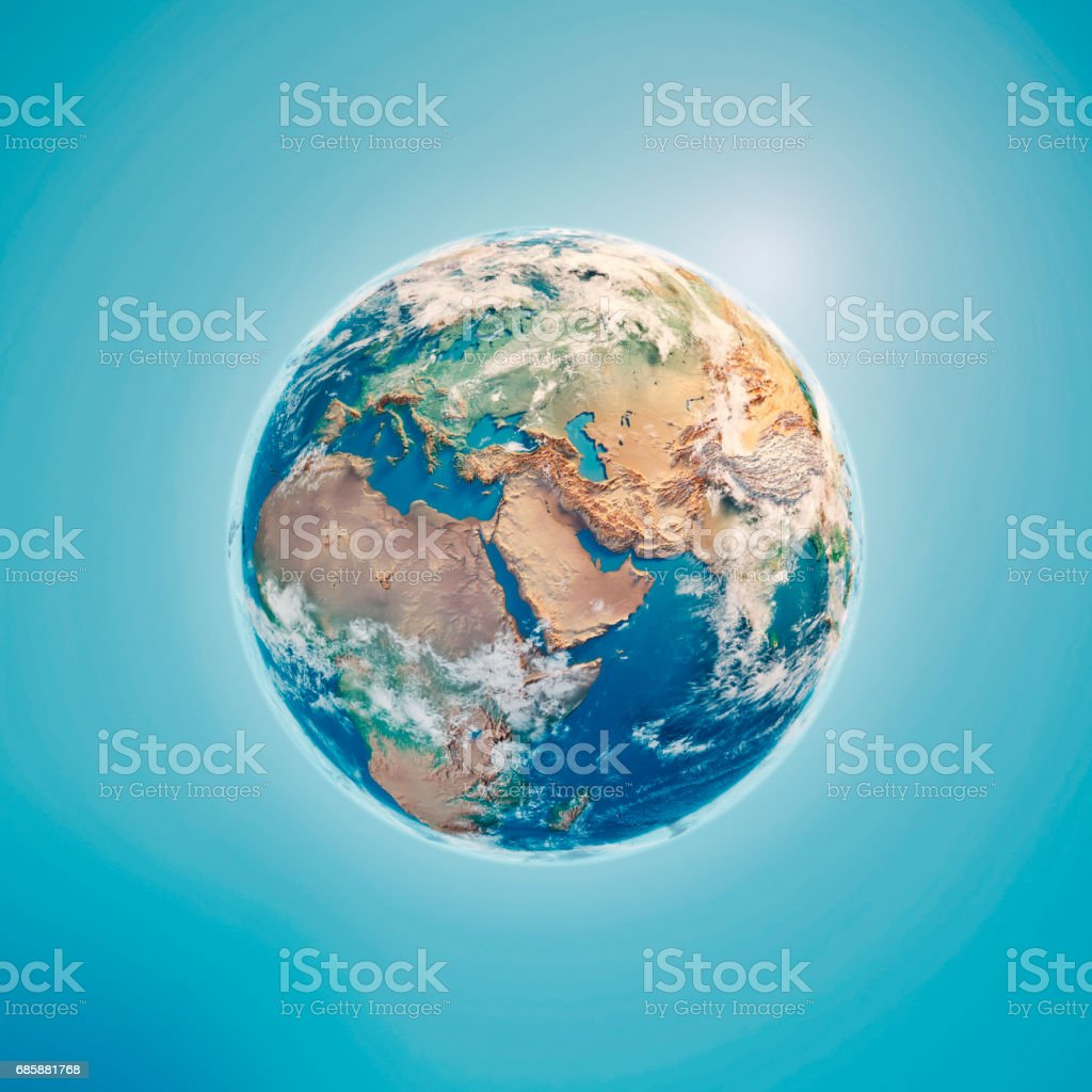 Middle East 3D Render Planet Earth Clouds stock photo