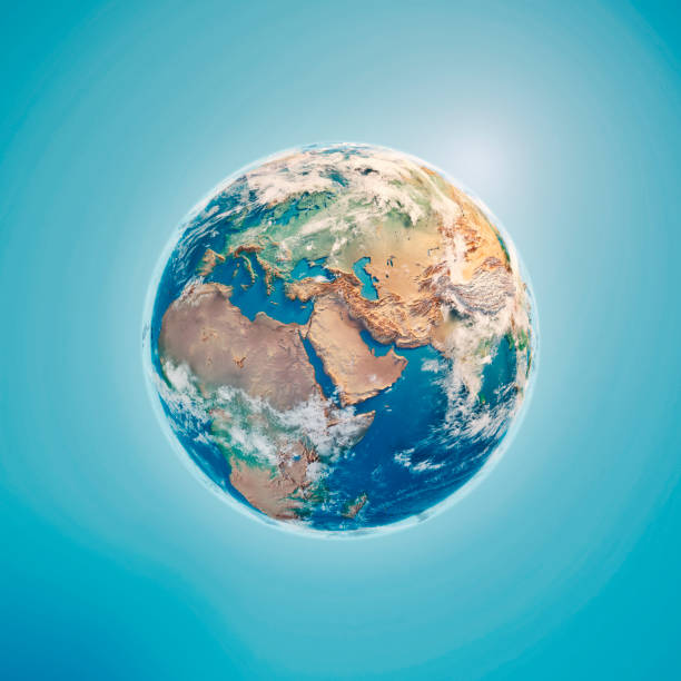 orta doğu 3d render planet earth bulutlar - mountain top stok fotoğraflar ve resimler