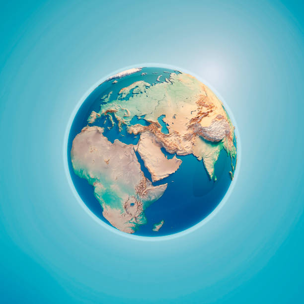 middle east 3d render planet earth - saudi arabia map stock photos and pictures