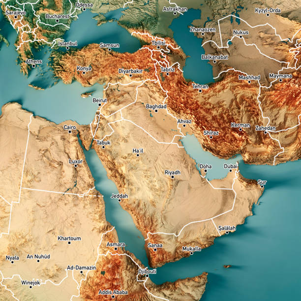 Middle East 3D Render Topographic Map Color Border Cities stock photo