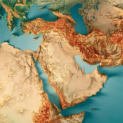 3D Render of a Topographic Map of Middle East. All source data is in the public domain. Color texture: Made with Natural Earth.  http://www.naturalearthdata.com/downloads/10m-raster-data/10m-cross-blend-hypso/ Relief texture: GMTED2010 data courtesy of USGS. URL of source image:  https://topotools.cr.usgs.gov/gmted_viewer/viewer.htm Water texture: World Water Body Limits: Humanitarian Information Unit HIU, U.S. Department of State http://geonode.state.gov/layers/geonode%3AWorld_water_body_limits_polygons Boundaries: Humanitarian Information Unit HIU, U.S. Department of State (database: LSIB) http://geonode.state.gov/layers/geonode%3ALSIB_10