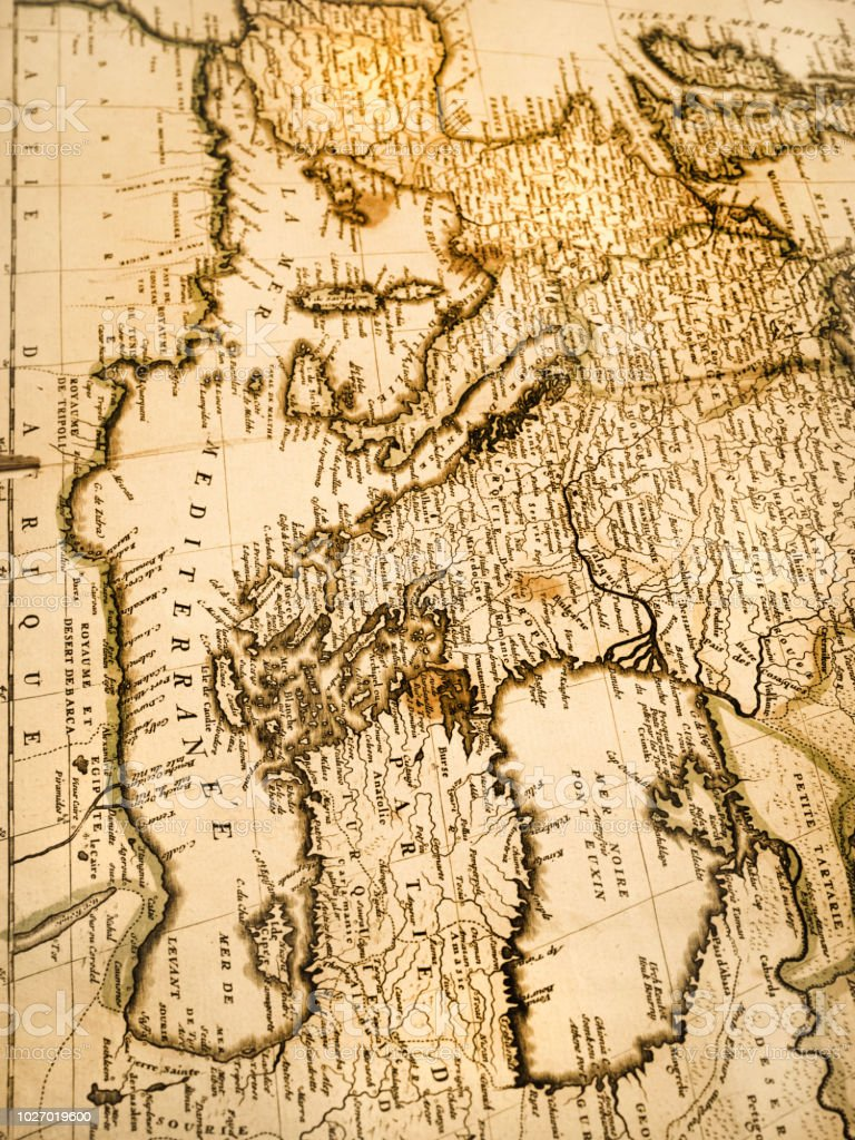 Middle East And European Old Map Stock Photo - Download Image Now