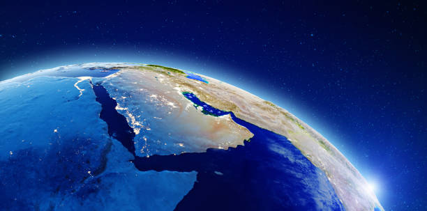 Middle East and Saudi Arabia Middle East and Saudi Arabia. Elements of this image furnished by NASA. 3d rendering saudi arabia stock pictures, royalty-free photos & images