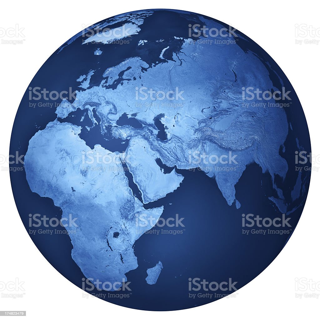 Middle East Blue Planet Earth Isolated royalty-free stock photo