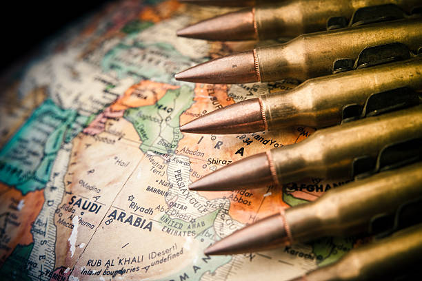 middle east conflict - saudi arabia map stock photos and pictures
