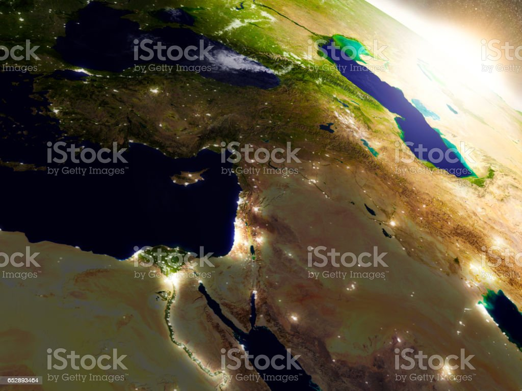 Middle East from space during sunrise stock photo