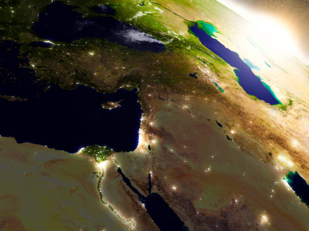 middle east from space during sunrise - north africa stock photos and pictures