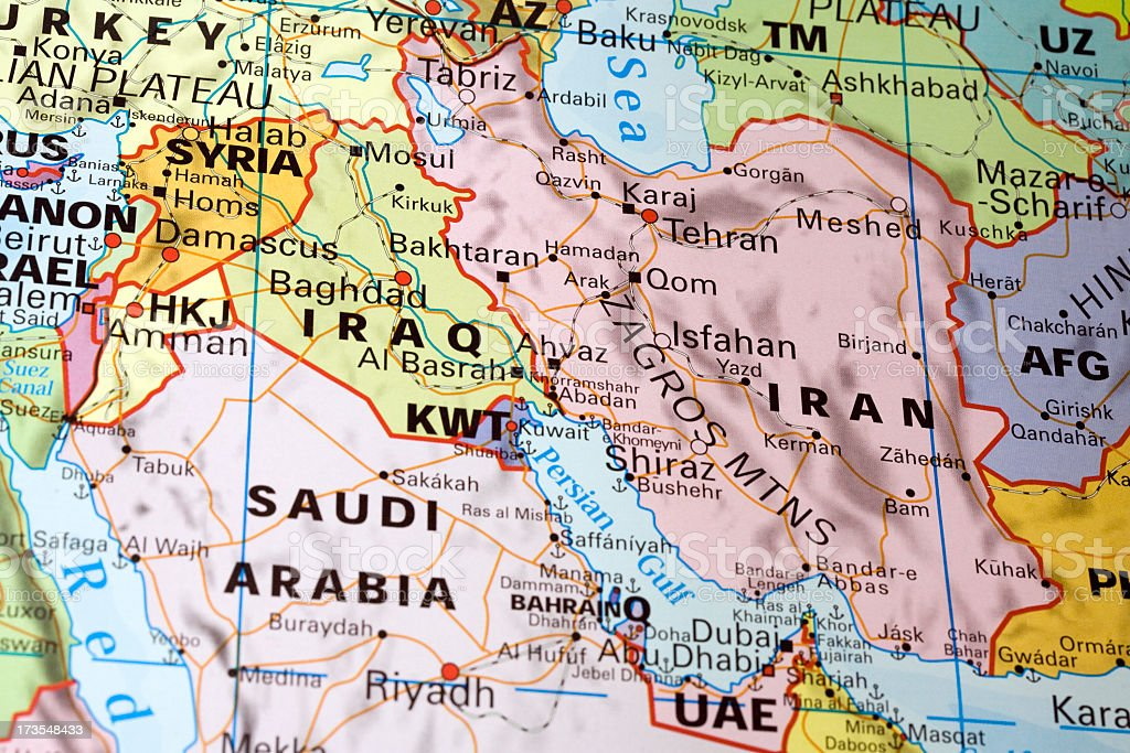 Middle East Map detail stock photo