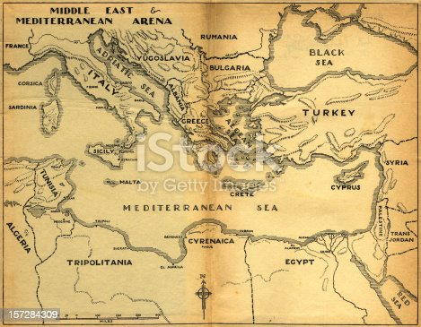 istock middle east & mediterranean old map 157284309
