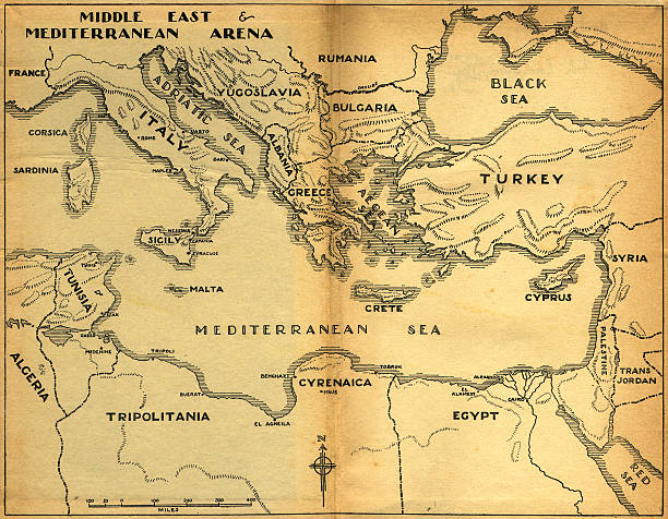 middle east & mediterranean old map  former yugoslavia stock pictures, royalty-free photos & images