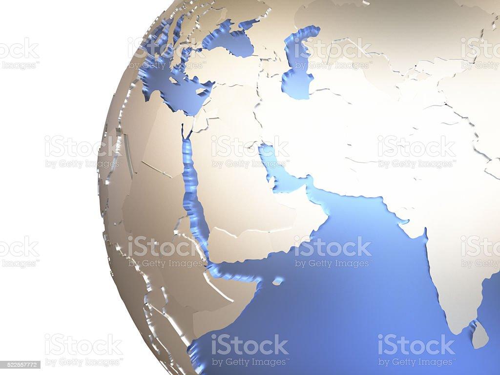 Middle East on metallic Earth stock photo