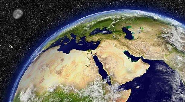 Oriente Medio en planeta tierra - foto de stock