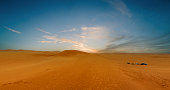 Orange sand desert area of the Empty Quarter in Saudi Arabia, United Arab Emirates and Oman in the Middle East.