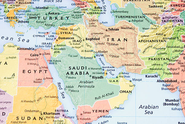 middle east, persian gulf and pakistan/afganistan region map - iii - saudi arabia map stock photos and pictures