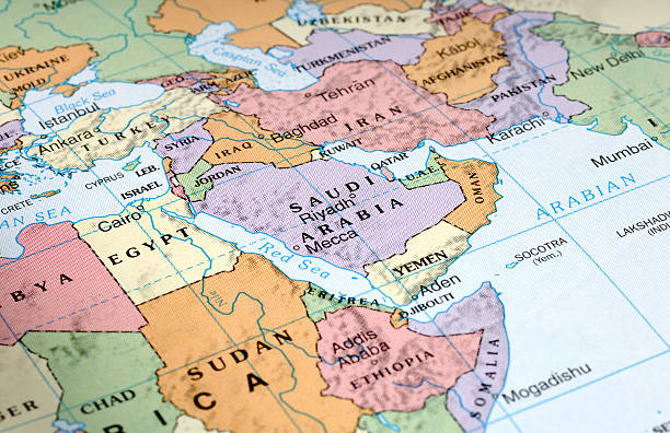 middle east - saudi arabia map stock photos and pictures