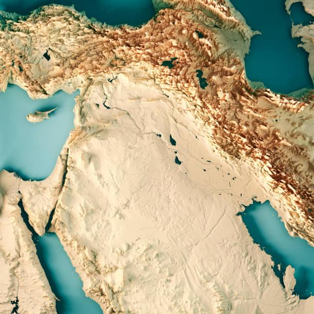 Naher Osten Syrien Irak 3D Render topografische Karte Farbe – Foto