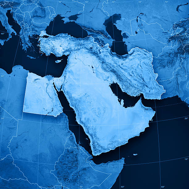 Middle East Topographic Map stock photo