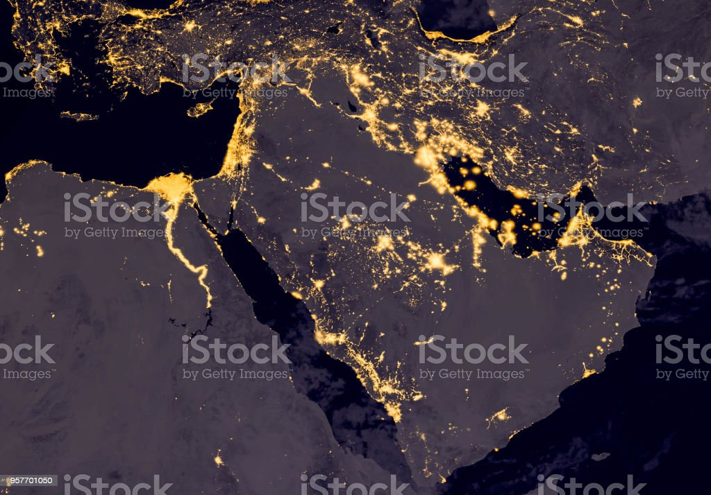 Middle east, west asia, east europe lights during night as it looks like from space. Elements of this image are furnished by NASA. stock photo