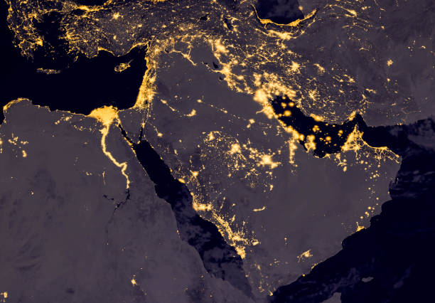 Middle east, west asia, east europe lights during night as it looks like from space. Elements of this image are furnished by NASA. Middle east, west asia, east europe lights during night as it looks like from space. Elements of this image are furnished by NASA saudi arabia stock pictures, royalty-free photos & images