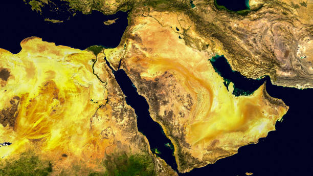 middle east, west asia, israel and iran as it looks like from space. elements of this image are furnished by nasa. - saudi arabia map stock photos and pictures