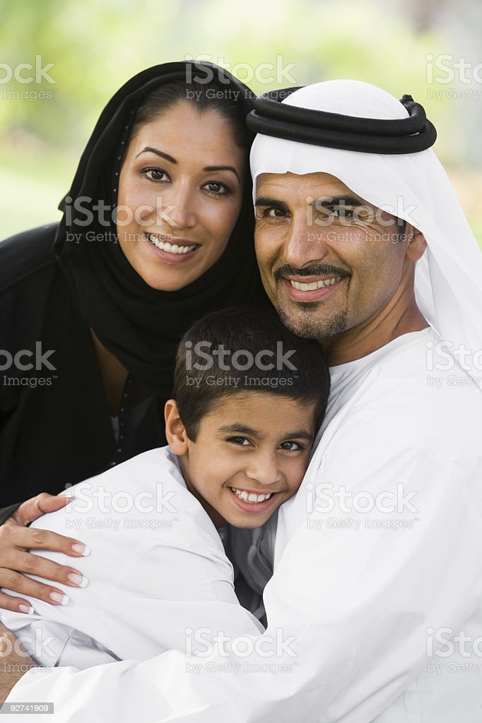Middle Eastern couple and their son royalty-free stock photo