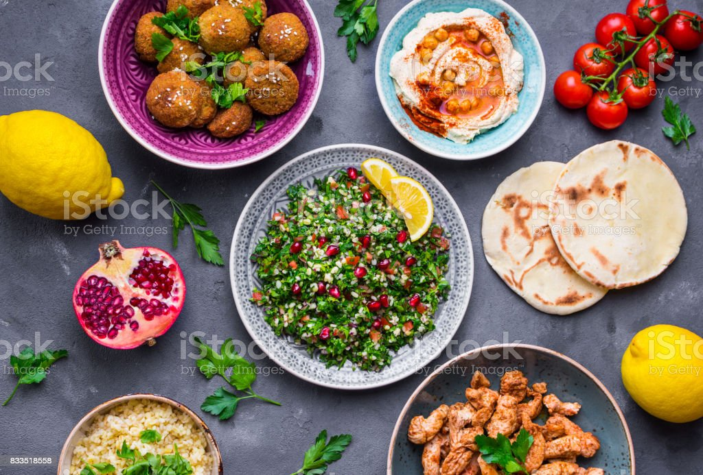 Middle eastern dishes stock photo