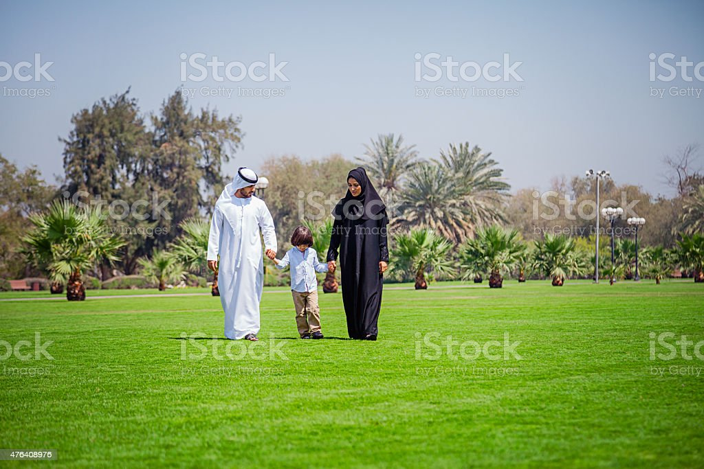 Middle Eastern Family enjoying at park stock photo