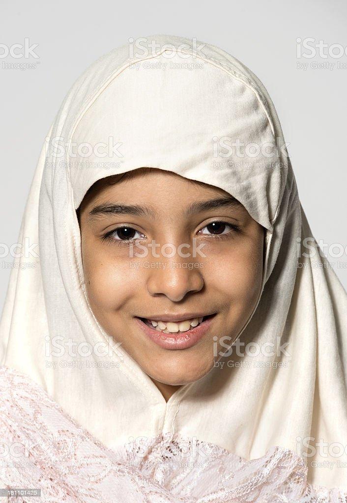 Middle Eastern Little School Girl stock photo