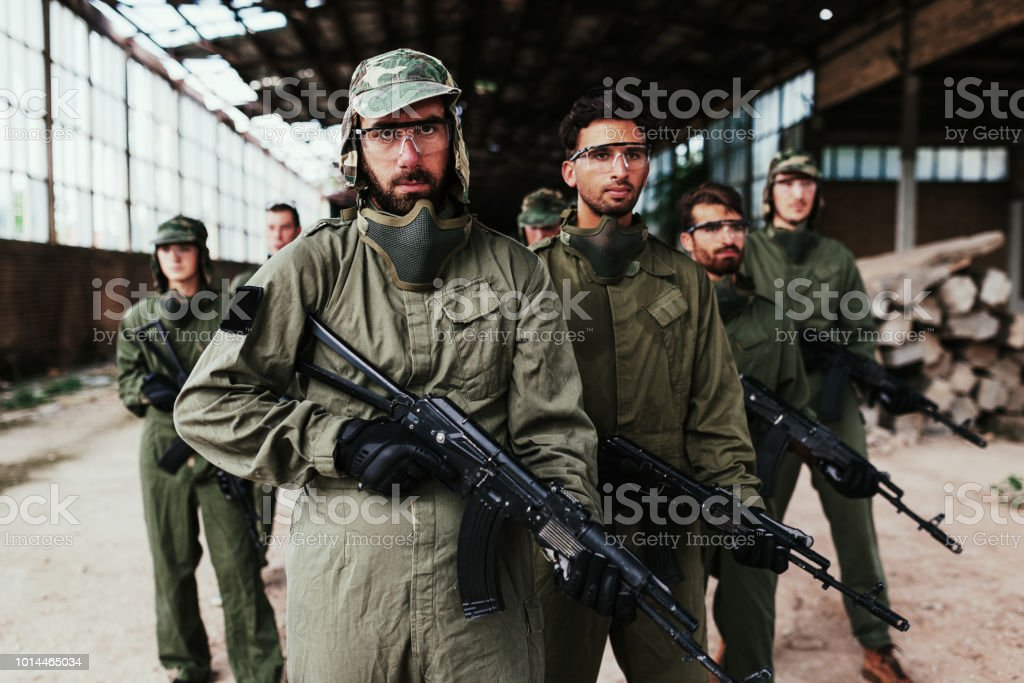 Middle Eastern para-military forces stock photo