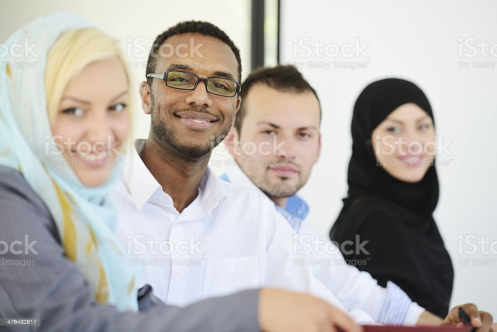 Middle eastern people having a business meeting at office stock photo