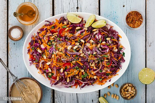 red cabbage salad. Thai cooking. salad with ginger and peanut dressing