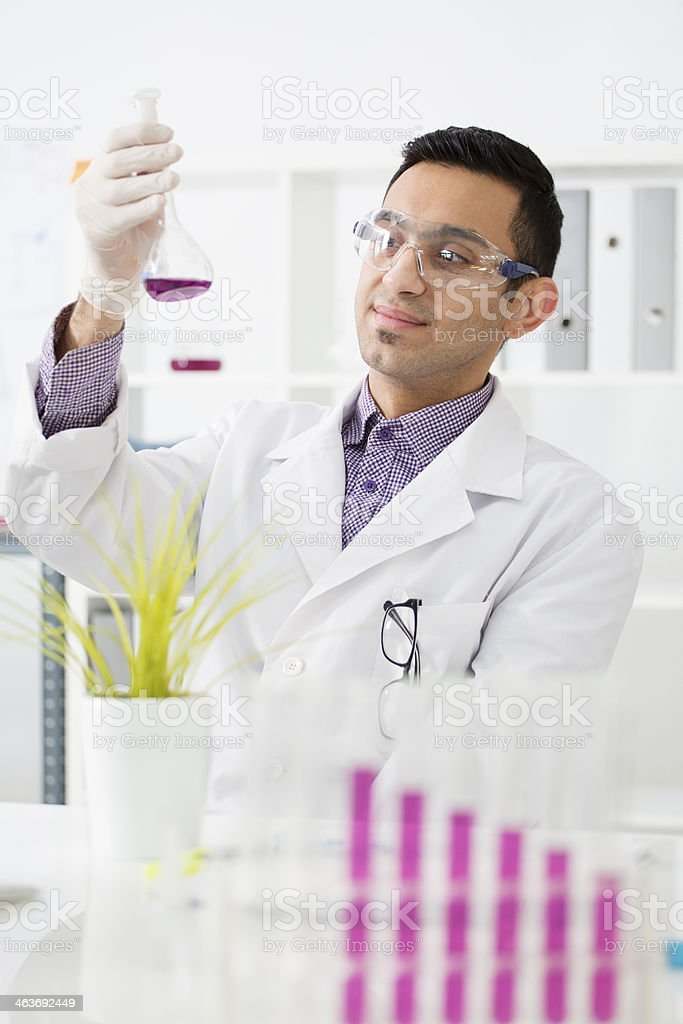 Middle Eastern scientist working in a lab. royalty-free stock photo