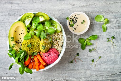 istock Middle eastern style Buddha bowl with green falafel, quinoa, butternut squash, tomatoes, avocado, beetroot hummus, micro greens and tahini sauce. 866556352