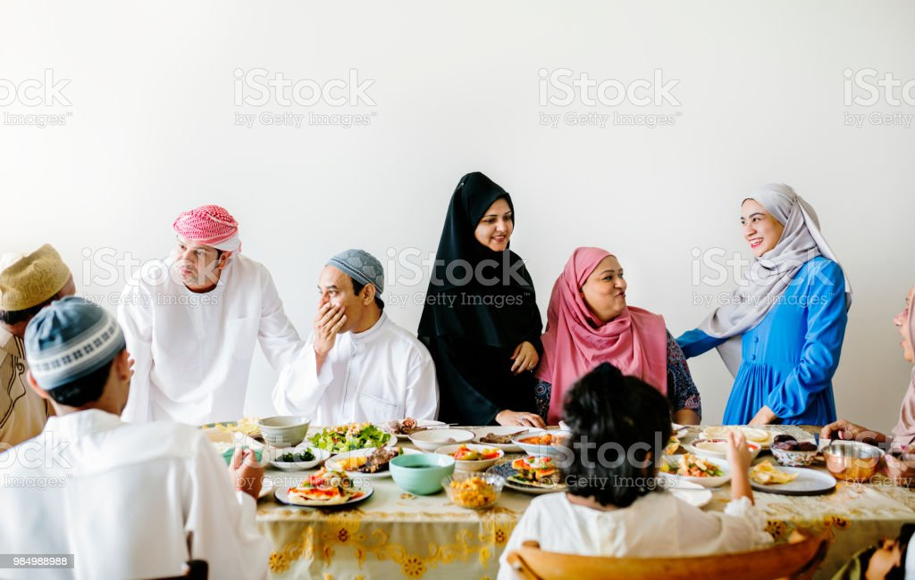 Middle Eastern Suhoor or Iftar meal stock photo
