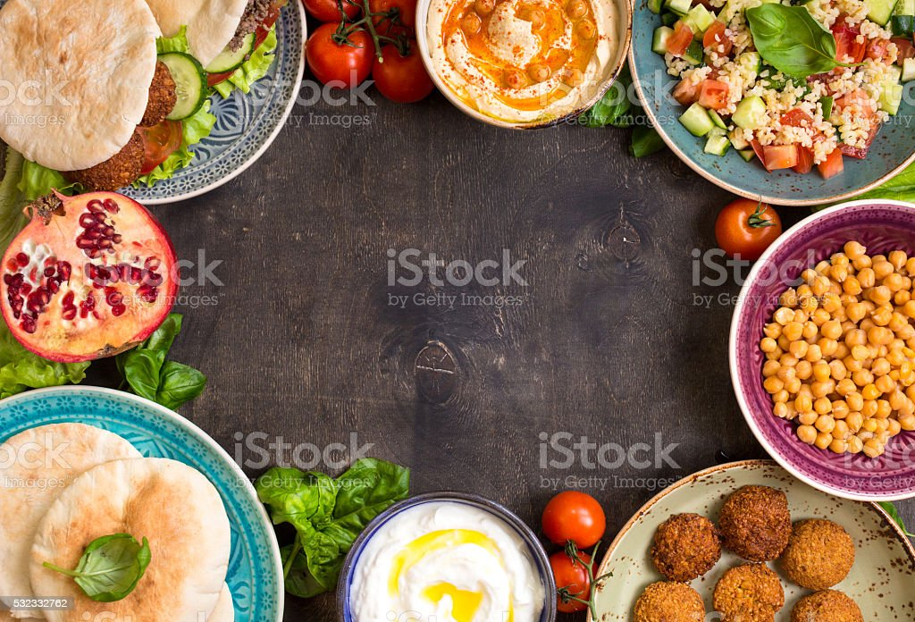 Middle eastern traditional dishes background stock photo