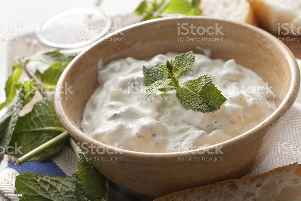 Middle Eastern: Tzatziki and Bread stock photo