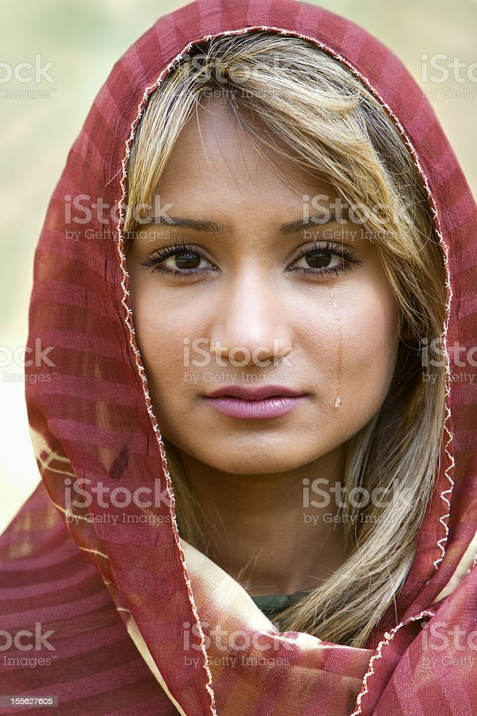 Middle Eastern Woman Crying royalty-free stock photo