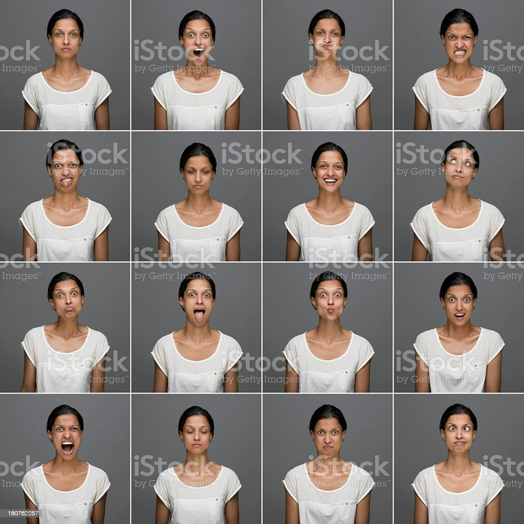 Middle Eastern woman Face Expressions stock photo