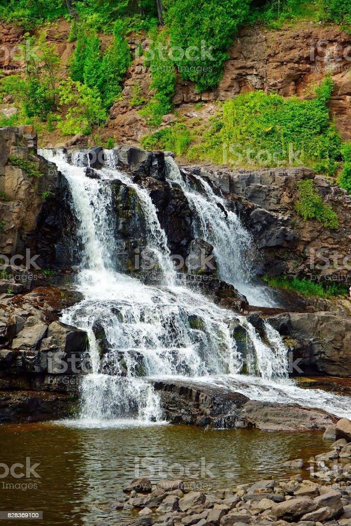 Middle Falls at Gooseberry Falls State Park 2 stock photo